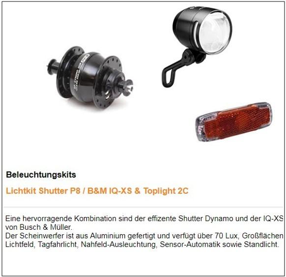 TT Beleuchtung : Shutter - IQ-XS Scheinwerfer 209,- Euro (Grand Route 279,-)