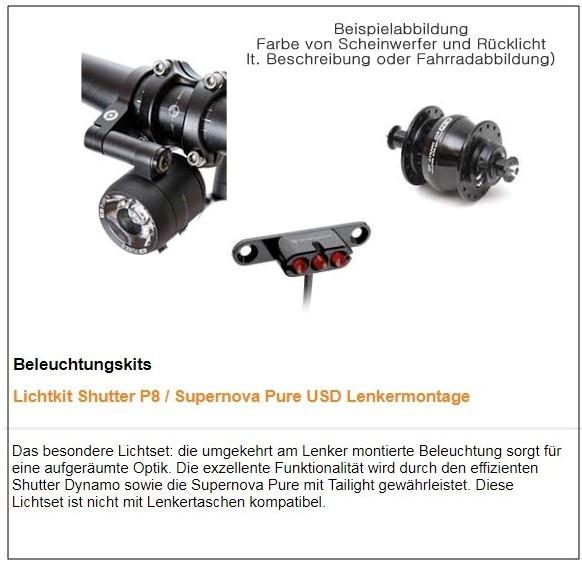TT Beleuchtung : Shutter Nabendynmo - Edellux PURE Scheinwerfer (Lenkermontage)