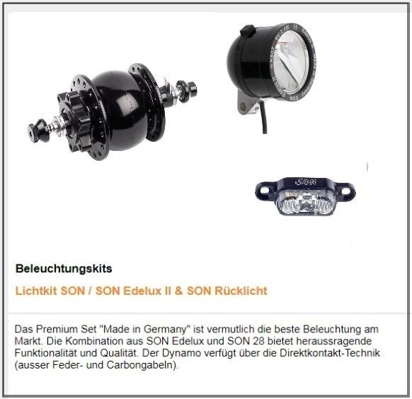 TT Beleuchtung : SON Nabendynamo, SON Edellux Scheinwerfer - SON Rücklicht