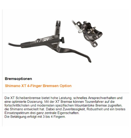 TT Bremsen: Shimano XT Scheibenbremse 4-Finger