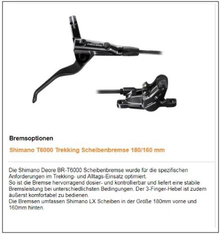 TT Bremsen: Shimano Deore hydr. Scheibenbremse
