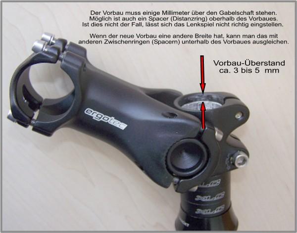 Lenkspiel vorbaumontage steuersatz am fahrrad for Mountainbike lenker hohe verstellen